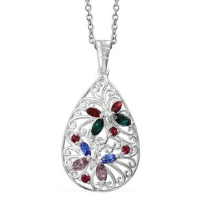 Sterling Silver Butterfly Pendant With Stainless Steel Chain (20 in) Made with SWAROVSKI Multi Color Crystal