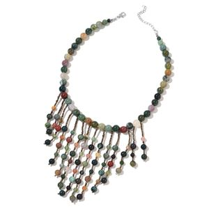 Indian Agate, Multi Color Glass Silvertone Fringe Necklace (18 in) TGW 533.50 cts.