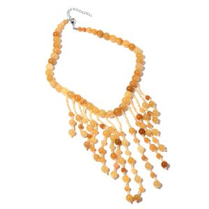 Yellow Aventurine, Yellow Glass Silvertone Fringe Necklace (18-21 in) TGW 534.50 cts.