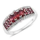 Burmese Red Spinel, Cambodian Zircon Platinum Over Sterling Silver Contemprory Style Ring (Size 5.0) TGW 1.76 cts.