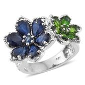 Kanchanaburi Blue Sapphire, Russian Diopside Platinum Over Sterling Silver Floral Ring (Size 7.0) TGW 7.01 cts.