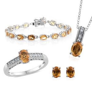 Brazilian Citrine, Cambodian Zircon Platinum Over Sterling Silver Bracelet (7.50 in), Earrings, Ring (Size 5) and Pendant With Chain (20.00 In) TGW 16.37 cts.