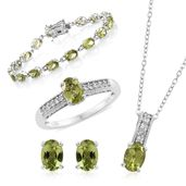 One Day TLV Hebei Peridot, Cambodian Zircon Platinum Over Sterling Silver Bracelet (7.50 in), Earrings, Ring (Size 9) and Pendant With Chain (20.00 In) TGW 17.51 cts.