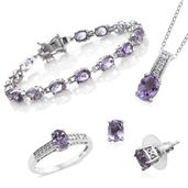 One Day TLV Rose De France Amethyst, Cambodian Zircon Platinum Over Sterling Silver Bracelet (7.50 in), Earrings, Ring (Size 9) and Pendant With Chain (20.00 In) TGW 15.69 cts.
