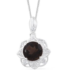 Brazilian Smoky Quartz, Simulated Diamond Sterling Silver Pendant With Stainless Steel Chain (20 in) TGW 2.07 cts.