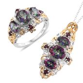 Doorbuster Northern Lights Mystic Topaz, Orissa Rhodolite Garnet 14K YG and Platinum Over Sterling Silver Crown Style Ring (Size 8) and Pendant With Chain (20 in) TGW 8.82 cts.