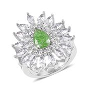Crackled Simulated Green and White Diamond, White Austrian Crystal Stainless Steel Ring (Size 8.0) TGW 3.20 cts.