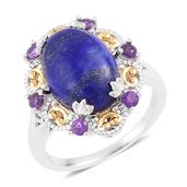 Lapis Lazuli, Amethyst 14K YG Over and Sterling Silver Cocktail Ring (Size 7.0) TGW 7.70 cts.