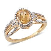 Brazilian Citrine 14K YG Over Sterling Silver Ring (Size 7.0) TGW 1.30 cts.