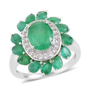 Brazilian Emerald, White Zircon Sterling Silver Ring (Size 6.0) TGW 3.90 cts.