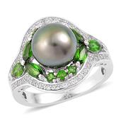 Tahitian Pearl, Russian Diopside, White Zircon Sterling Silver Ring (Size 8.0) TGW 1.80 cts.