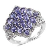 Tanzanite, Cambodian Zircon Platinum Over Sterling Silver Cluster Ring (Size 5.0) TGW 4.50 cts.