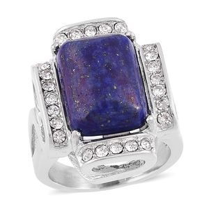 Lapis Lazuli, White Austrian Crystal Stainless Steel Cocktail Ring (Size 8.0) TGW 5.40 cts.