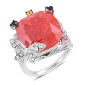 Simulated Orange Diamond, Multi Color Austrian Crystal Stainless Steel Ring (Size 8.0) TGW 16.00 cts.