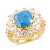 Simulated Blue and White Diamond ION Plated YG Stainless Steel Ring (Size 7.0) TGW 10.00 cts.