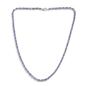 Tanzanite Platinum Over Sterling Silver Oval Linked Tennis Necklace (18 in) TGW 16.50 cts.