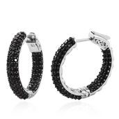 Thai Black Spinel Black Rhodium & Platinum Over Sterling Silver Inside Out Hoop Earrings TGW 3.52 cts.