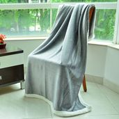 Cozy Glistening Gray Microplush Sherpa Throw (50x60 in)