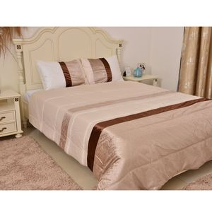 Brown Striped Microfiber Comforter with Set of 2 Standard Pillow Shams (Full-Queen)