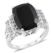 Australian Black Tourmaline, Cambodian Zircon Platinum Over Sterling Silver Ring (Size 7.0) TGW 12.80 cts.