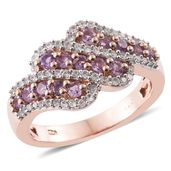 Madagascar Purple Sapphire, Cambodian Zircon 14K RG Over Sterling Silver Ring (Size 5.0) TGW 1.58 cts.