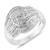 Diamond Platinum Over Sterling Silver Ring (Size 7.0) TDiaWt 0.96 cts, TGW 0.96 cts.