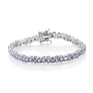 Tanzanite Platinum Over Sterling Silver Bow Tennis Bracelet (7.25 In) 0 TGW 8.98 cts.