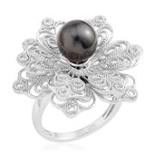 Tahitian Pearl (8-8.5 mm) Sterling Silver Floral Spinner Ring (Size 7.0)