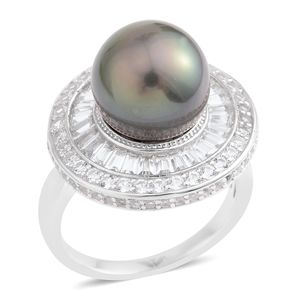 Tahitian Pearl (11-11.5 mm), White Topaz Sterling Silver Ring (Size 8.0) TGW 2.20 cts.