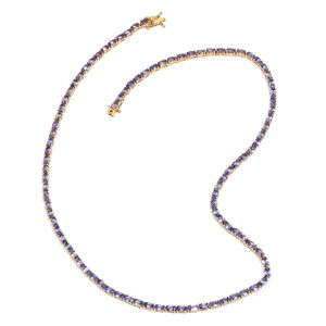 Cheryl's Host Pick Tanzanite 14K YG Over Sterling Silver Tennis Necklace (20 in) TGW 22.00 cts.