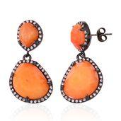 Enhanced Orange Agate, White Austrian Crystal ION Plated Black Stainless Steel Drop Earrings TGW 15.96 cts.