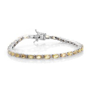 Yellow Sapphire, Cambodian Zircon Platinum Over Sterling Silver Bracelet (7.50 In) TGW 11.30 cts.