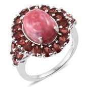Norwegian Thulite, Mozambique Garnet Platinum Over Sterling Silver Ring (Size 7.0) TGW 11.56 cts.