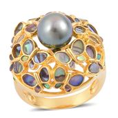 Tahitian Pearl, Multi Gemstone Yellow Gold Over Sterling Silver Ring (Size 9.0) TGW 8.00 cts.