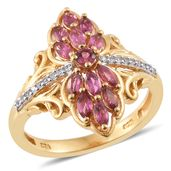 Ouro Fino Rubellite, Cambodian Zircon 14K YG Over Sterling Silver Elongated Ring (Size 6.0) TGW 0.97 cts.