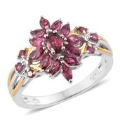 Ouro Fino Rubellite 14K YG and Platinum Over Sterling Silver Ring (Size 9.0) TGW 1.24 cts.