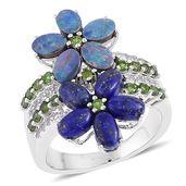 Lapis Lazuli, Australian Boulder Opal, Russian Diopside, White Zircon Sterling Silver Floral Ring (Size 7.0) TGW 6.45 cts.
