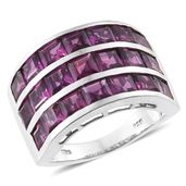 Dan's Jewelry Selections Purple Garnet Platinum Over Sterling Silver Triple Row Ring (Size 7.0) TGW 9.05 cts.