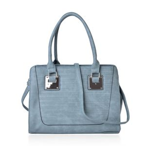 Sage Stripe Embossed Faux Leather Tote Bag with Removable Strap (13.5x5x10 in)