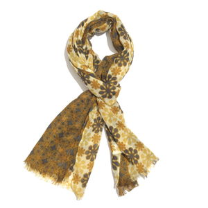 Yellow and Brown 100% Merino Wool Floral Pattern Scarf (70x27 in)