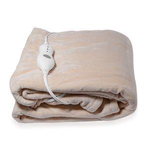 Beige Electric Heated Micro Plush Flannel Sherpa Throw Blanket (50x60 in)