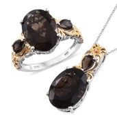 Doorbuster Brazilian Smoky Quartz 14K YG and Platinum Over Sterling Silver Royal Work Ring (Size 6) and Pendant With Chain (20 in) TGW 17.62 cts.