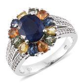 Kanchanaburi Blue Sapphire, Multi Sapphire, Cambodian Zircon Platinum Over Sterling Silver Floral Ring (Size 8.0) TGW 6.53 cts.