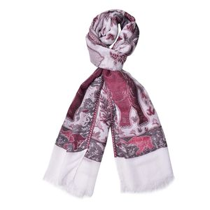Red Anilmal Pattern 100% Acrylic Scarf (27.55x75.59 in)