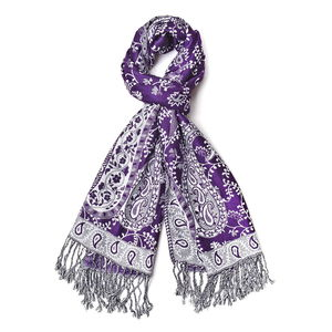 Purple and Gray 100% Viscose Reversible Paisley and Scroll Leave Pattern Scarf with Black and White Fringes (72x24 in)