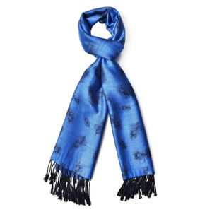 Indigo Blue 60% Acrylic & 40% Viscose Feather Pattern Scarf with Fringes (72x28 in)