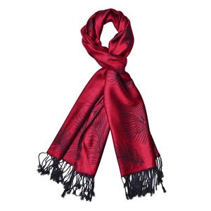 Red 60% Acrylic & 40% Viscose Feather Pattern Scarf with Fringes (72x28 in)