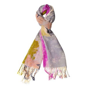 Multi Color Paisley Pattern 100% Wool Scarf with Braided Tassels (25.59x74.81 in)