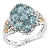 Madagascar Paraiba Apatite 14K YG and Platinum Over Sterling Silver Ring (Size 8.0) TGW 3.06 cts.