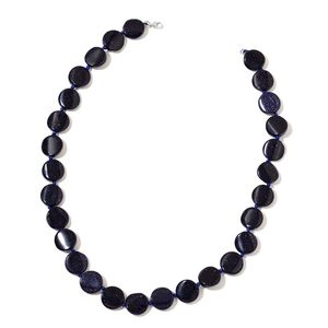 Dan's Collector Deals Blue Goldstone Beads Sterling Silver Necklace (18 in) TGW 209.00 cts.